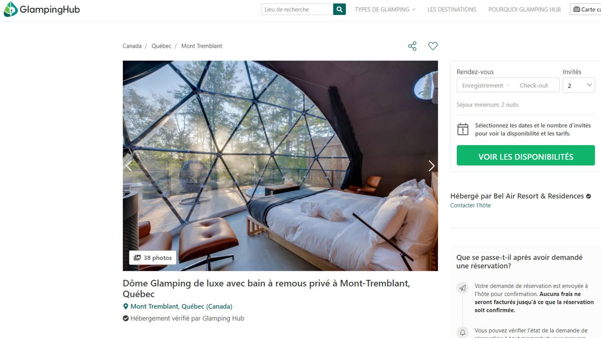 Site Web pour trouver un site de Glamping au Québec